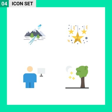 Pack of 4 creative Flat Icons of rocks, body, nature, decoration, human Editable Vector Design Elements icon