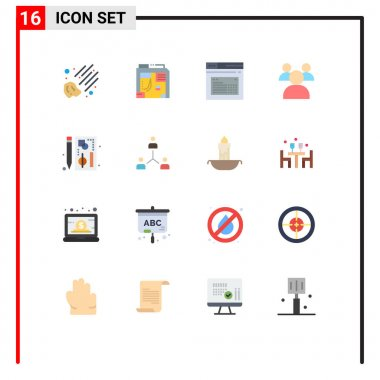 Set of 16 Modern UI Icons Symbols Signs for graph, browser, page, teachers, education Editable Pack of Creative Vector Design Elements icon