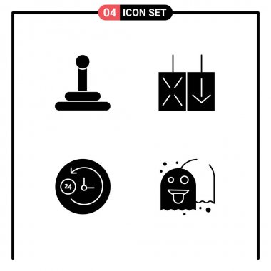 Mobile Interface Solid Glyph Set of 4 Pictograms of gear, game, reverse, day and night, fun Editable Vector Design Elements