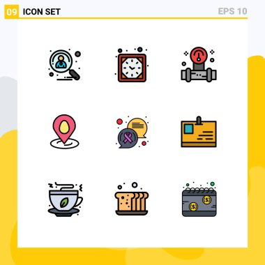 Group of 9 Filledline Flat Colors Signs and Symbols for chat, map, watch, pin, water Editable Vector Design Elements