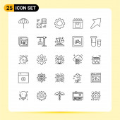 25 Universal Line Signs Symbols of product, management, five, delivery, technology Editable Vector Design Elements