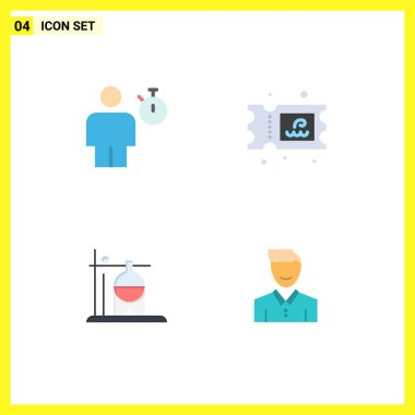 Pack of 4 Modern Flat Icons Signs and Symbols for Web Print Media such as avatar, medical, performance, water, transfusion Editable Vector Design Elements icon