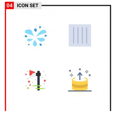 User Interface Pack of 4 Basic Flat Icons of wavy pool, celebration, care, dry, holiday Editable Vector Design Elements icon