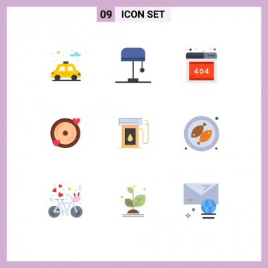 9 Universal Flat Color Signs Symbols of camping, oil, web, industry, wedding Editable Vector Design Elements