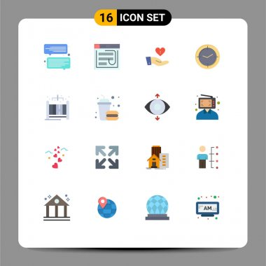 Universal Icon Symbols Group of 16 Modern Flat Colors of compass, time, web, love, giving Editable Pack of Creative Vector Design Elements icon