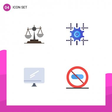 Editable Vector Line Pack of 4 Simple Flat Icons of balance, gear, justice, scale, line Editable Vector Design Elements icon