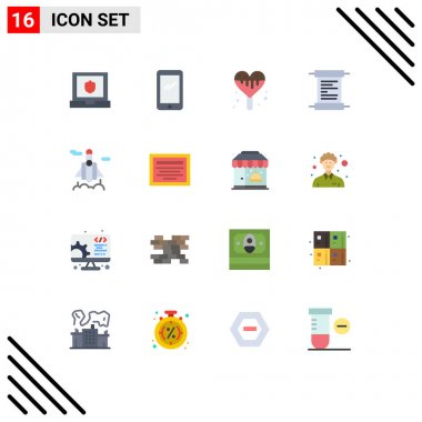 Universal Icon Symbols Group of 16 Modern Flat Colors of education, space, ice cream, rocket, receipt Editable Pack of Creative Vector Design Elements icon