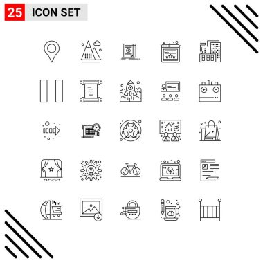 Stock Vector Icon Pack of 25 Line Signs and Symbols for construction, website, nature, rating, novel Editable Vector Design Elements icon