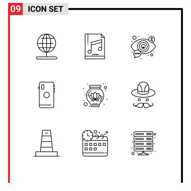 Stock Vector Icon Pack of 9 Line Signs and Symbols for camera, mobile, eye, smart phone, vision Editable Vector Design Elements icon