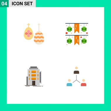 Pack of 4 creative Flat Icons of celebration, dormitory, food, paper, hotel Editable Vector Design Elements icon