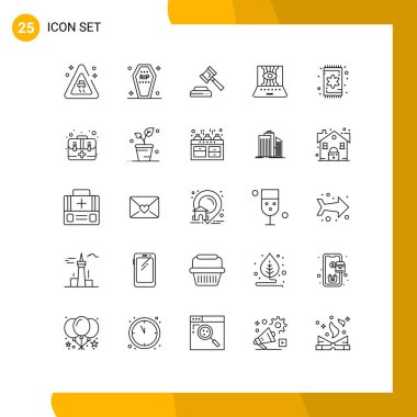Stock Vector Icon Pack of 25 Line Signs and Symbols for furniture, technology, court, technic, computer sciences Editable Vector Design Elements icon