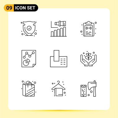 Stock Vector Icon Pack of 9 Line Signs and Symbols for paper, data, term, task, mark Editable Vector Design Elements icon
