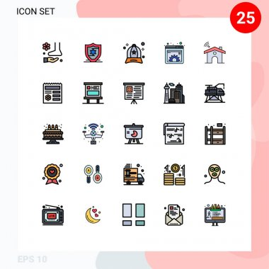 25 Creative Icons Modern Signs and Symbols of wifi, management, accessories, gear, content Editable Vector Design Elements