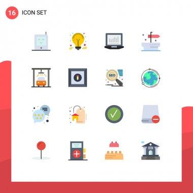 Set of 16 Modern UI Icons Symbols Signs for box, service, laptop, car, thanks Editable Pack of Creative Vector Design Elements icon