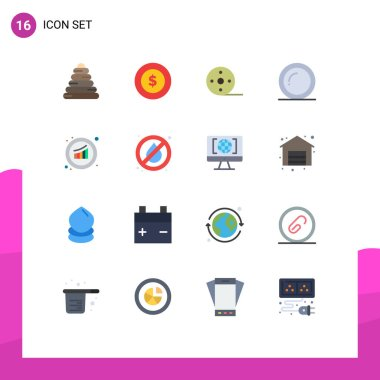 16 Creative Icons Modern Signs and Symbols of sales, growth, movie, graph, thanks Editable Pack of Creative Vector Design Elements icon