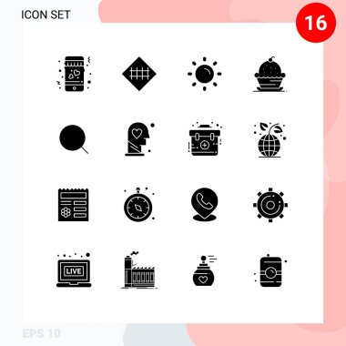 Stock Vector Icon Pack of 16 Line Signs and Symbols for search, sweet, brightness, muffin, cake Editable Vector Design Elements icon