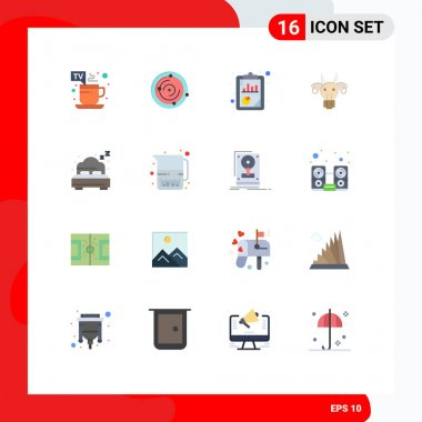 Set of 16 Commercial Flat Colors pack for summer, indian, analysis, bull, adornment Editable Pack of Creative Vector Design Elements