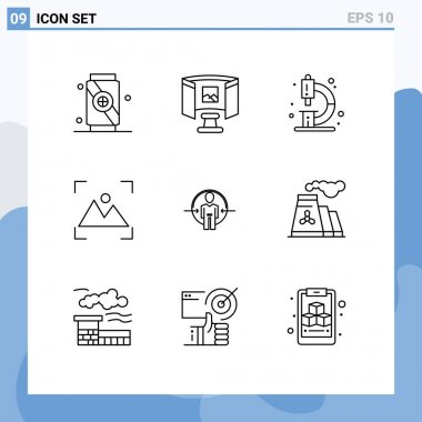 9 Creative Icons Modern Signs and Symbols of user, photography, chemistry, photo, crop Editable Vector Design Elements