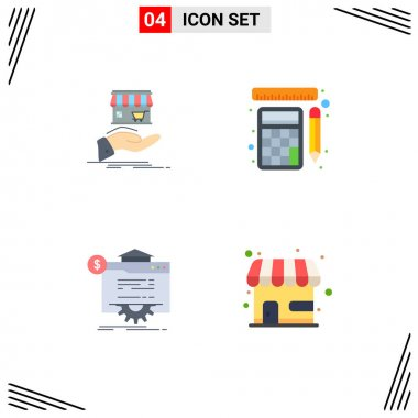 4 User Interface Flat Icon Pack of modern Signs and Symbols of shop, seo, online, tools, globe Editable Vector Design Elements icon
