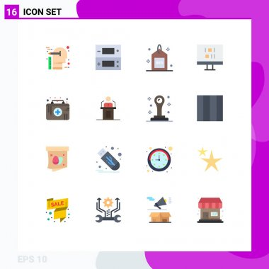 16 Creative Icons Modern Signs and Symbols of first aid kit, data, video, computer, search Editable Pack of Creative Vector Design Elements icon