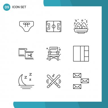 Outline Pack of 9 Universal Symbols of chair, editing, pitch, edit, clip Editable Vector Design Elements