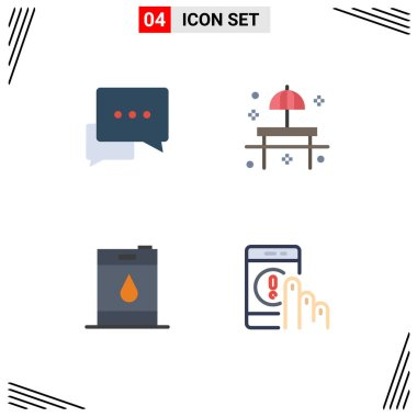Editable Vector Line Pack of 4 Simple Flat Icons of chat, barrel, bubble, restaurant, oil Editable Vector Design Elements icon