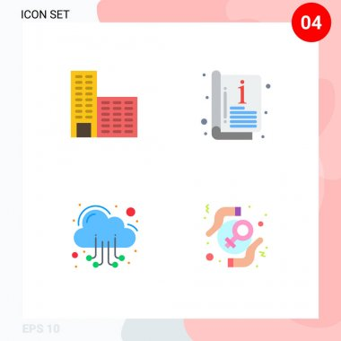 Set of 4 Commercial Flat Icons pack for architecture, server, catalog, template, feminist Editable Vector Design Elements icon