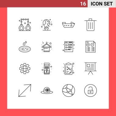 Stock Vector Icon Pack of 16 Line Signs and Symbols for rain, garbage, earth, delete, basket Editable Vector Design Elements icon