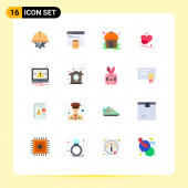 Pictogram Set of 16 Simple Flat Colors of laptop, valentine greetings, web, couple, heart Editable Pack of Creative Vector Design Elements