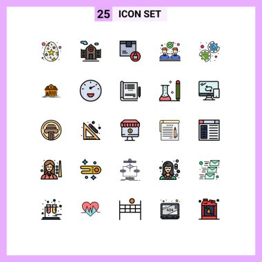 Stock Vector Icon Pack of 25 Line Signs and Symbols for settings, gear, delivery, partnership, agreement Editable Vector Design Elements icon