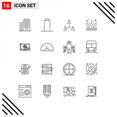 Stock Vector Icon Pack of 16 Line Signs and Symbols for laptop, sunrise, cooperation, sea, team Editable Vector Design Elements icon