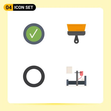 Editable Vector Line Pack of 4 Simple Flat Icons of checked, shim, brush, tool, drip Editable Vector Design Elements icon