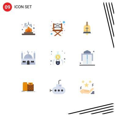 Stock Vector Icon Pack of 9 Line Signs and Symbols for calculate, ramadan, ball, muslim, islam Editable Vector Design Elements icon