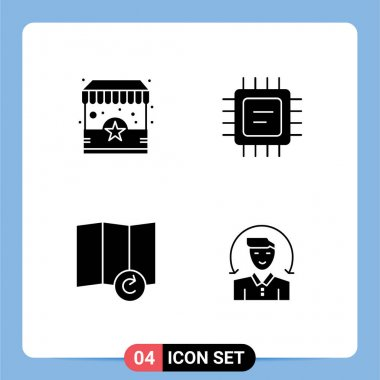 4 Universal Solid Glyph Signs Symbols of ecommerce, user, stand, processor, client Editable Vector Design Elements