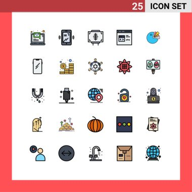 Stock Vector Icon Pack of 25 Line Signs and Symbols for pie, develop, fitness, coding, app Editable Vector Design Elements icon