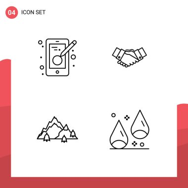 Stock Vector Icon Pack of 4 Line Signs and Symbols for creativity, partnership, mobile, business, landscape Editable Vector Design Elements icon