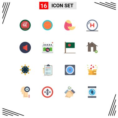 Stock Vector Icon Pack of 16 Line Signs and Symbols for sound, hospital, watch, health, care Editable Pack of Creative Vector Design Elements icon