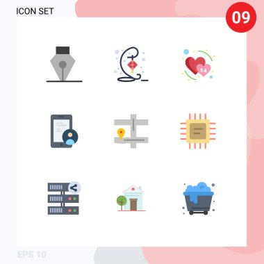 Stock Vector Icon Pack of 9 Line Signs and Symbols for pin, map, date, user, secure Editable Vector Design Elements icon
