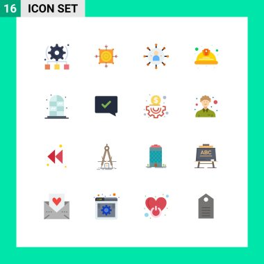 Set of 16 Modern UI Icons Symbols Signs for labour, helmet, target, day, person Editable Pack of Creative Vector Design Elements icon