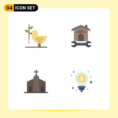 Stock Vector Icon Pack of 4 Line Signs and Symbols for agreement, wrench, harmony, household, christian Editable Vector Design Elements icon