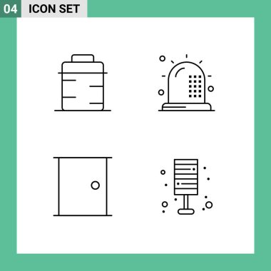Stock Vector Icon Pack of 4 Line Signs and Symbols for pan, buildings, giving, fitness, gate Editable Vector Design Elements icon
