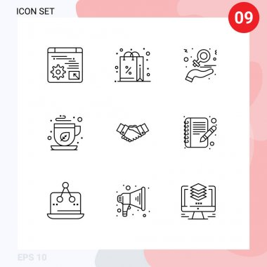 Stock Vector Icon Pack of 9 Line Signs and Symbols for handshake, mocha, charity, green tea, women Editable Vector Design Elements icon
