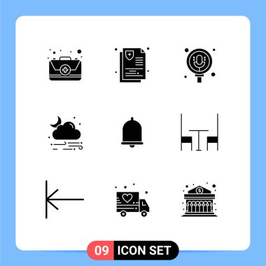 9 Creative Icons Modern Signs and Symbols of bell, weather, search, rain, wind Editable Vector Design Elements icon