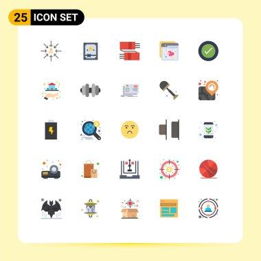 25 Thematic Vector Flat Colors and Editable Symbols of ui, web, accessories, ux, internet Editable Vector Design Elements
