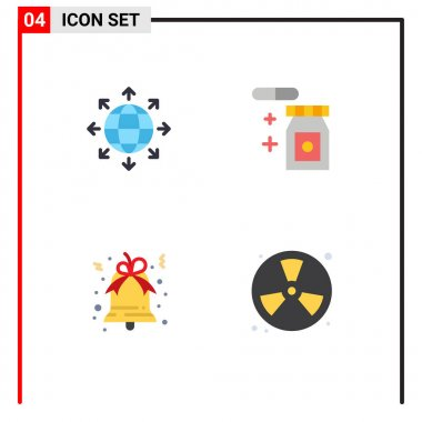 Editable Vector Line Pack of 4 Simple Flat Icons of connection, xmas, world, temperature, fighter Editable Vector Design Elements icon