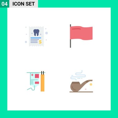 Pack of 4 Modern Flat Icons Signs and Symbols for Web Print Media such as dentist, medical, tooth, mark, pipe Editable Vector Design Elements icon