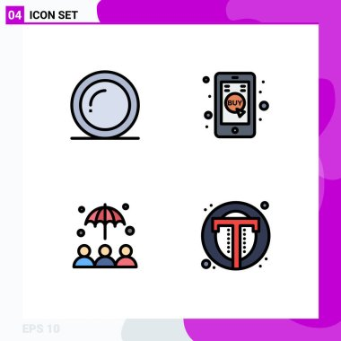 Stock Vector Icon Pack of 4 Line Signs and Symbols for plate, protection, giving, mobile, interface Editable Vector Design Elements icon