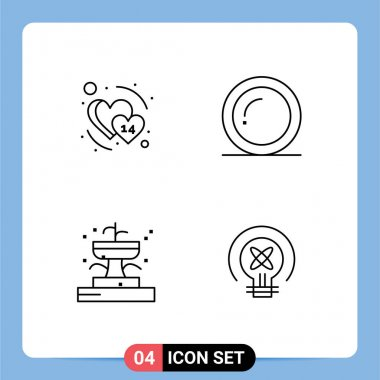 Stock Vector Icon Pack of 4 Line Signs and Symbols for heart, fountain, february, thanks, park Editable Vector Design Elements icon