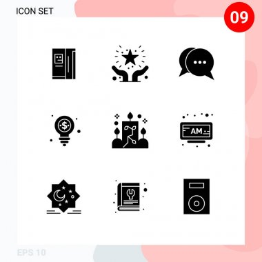 Stock Vector Icon Pack of 9 Line Signs and Symbols for candle, money, safe, dollar, bubble Editable Vector Design Elements icon