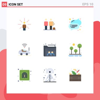 Stock Vector Icon Pack of 9 Line Signs and Symbols for web, wifi, friends, car, text Editable Vector Design Elements icon